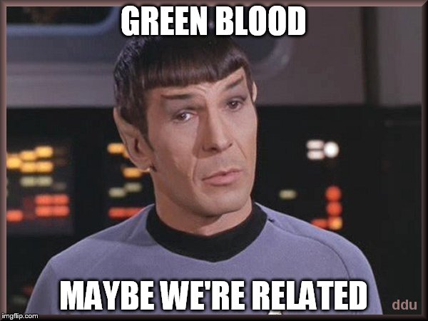 GREEN BLOOD MAYBE WE'RE RELATED | made w/ Imgflip meme maker