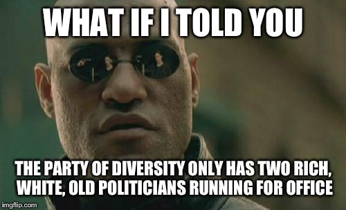 Matrix Morpheus Meme | WHAT IF I TOLD YOU THE PARTY OF DIVERSITY ONLY HAS TWO RICH, WHITE, OLD POLITICIANS RUNNING FOR OFFICE | image tagged in memes,matrix morpheus | made w/ Imgflip meme maker