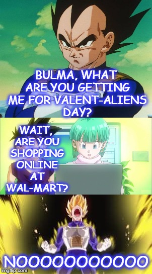 BULMA, WHAT ARE YOU GETTING ME FOR VALENT-ALIENS DAY? NOOOOOOOOOOO WAIT, ARE YOU SHOPPING ONLINE AT WAL-MART? | made w/ Imgflip meme maker