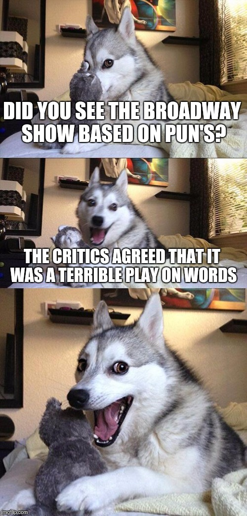 Broadway pun's | DID YOU SEE THE BROADWAY SHOW BASED ON PUN'S? THE CRITICS AGREED THAT IT WAS A TERRIBLE PLAY ON WORDS | image tagged in memes,bad pun dog,broadway,show,puns,terrible | made w/ Imgflip meme maker