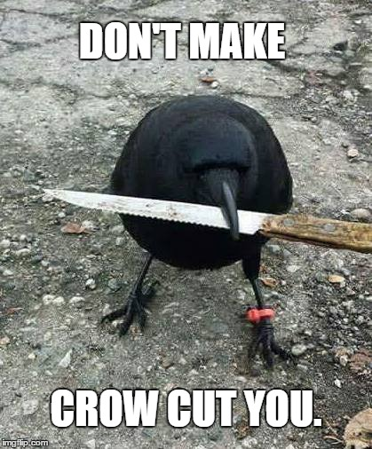 Hockey Blackhawks | DON'T MAKE CROW CUT YOU. | image tagged in crawford | made w/ Imgflip meme maker