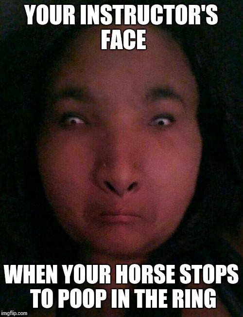 Instructor face | YOUR INSTRUCTOR'S FACE WHEN YOUR HORSE STOPS TO POOP IN THE RING | image tagged in instructor face | made w/ Imgflip meme maker
