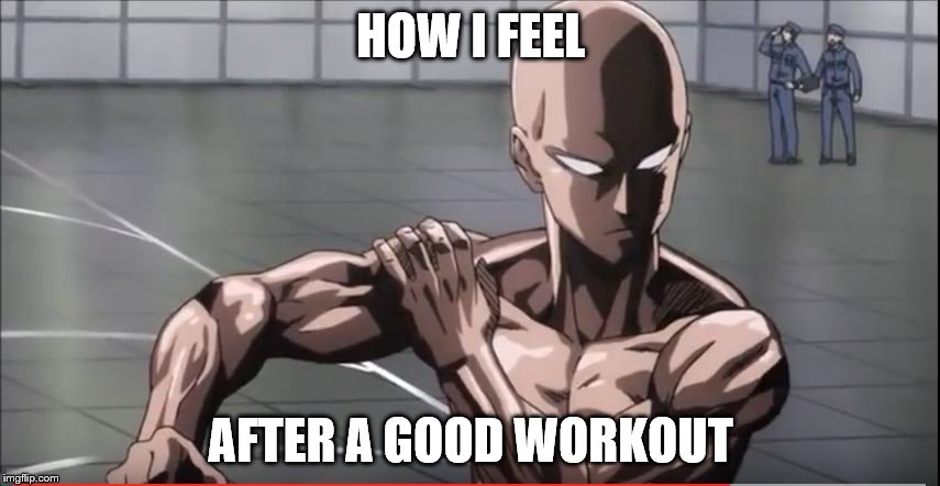 Either this, or I feel like I can go Super Saiyan | HOW I FEEL AFTER A GOOD WORKOUT | image tagged in one punch man,training,saitama,dragon ball z,super saiyan | made w/ Imgflip meme maker