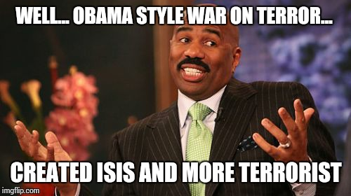 Steve Harvey Meme | WELL... OBAMA STYLE WAR ON TERROR... CREATED ISIS AND MORE TERRORIST | image tagged in memes,steve harvey | made w/ Imgflip meme maker