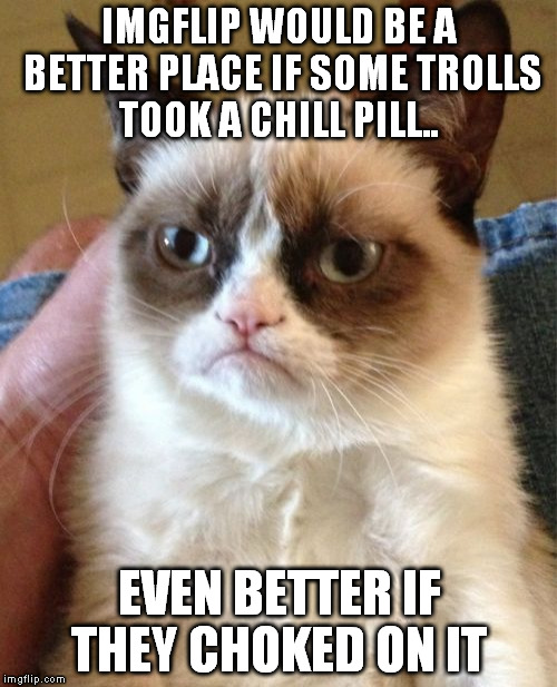 Trolls need to chill..  | IMGFLIP WOULD BE A BETTER PLACE IF SOME TROLLS TOOK A CHILL PILL.. EVEN BETTER IF THEY CHOKED ON IT | image tagged in memes,grumpy cat | made w/ Imgflip meme maker