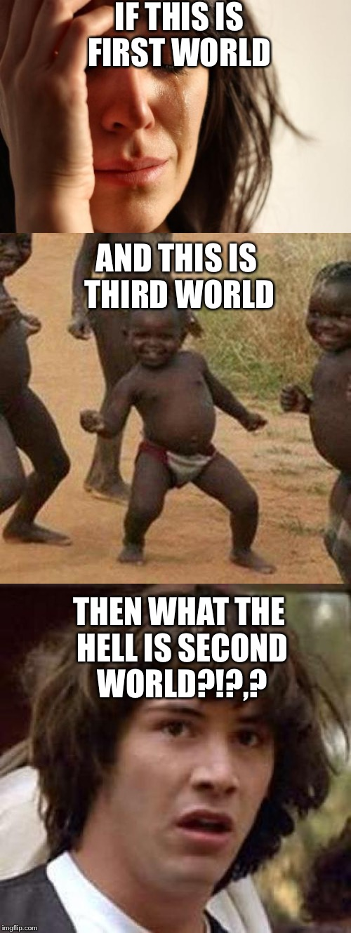 I've been wondering this for a while | IF THIS IS FIRST WORLD THEN WHAT THE HELL IS SECOND WORLD?!?,? AND THIS IS THIRD WORLD | image tagged in first world problems,third world success kid,conspiracy keanu,memes | made w/ Imgflip meme maker