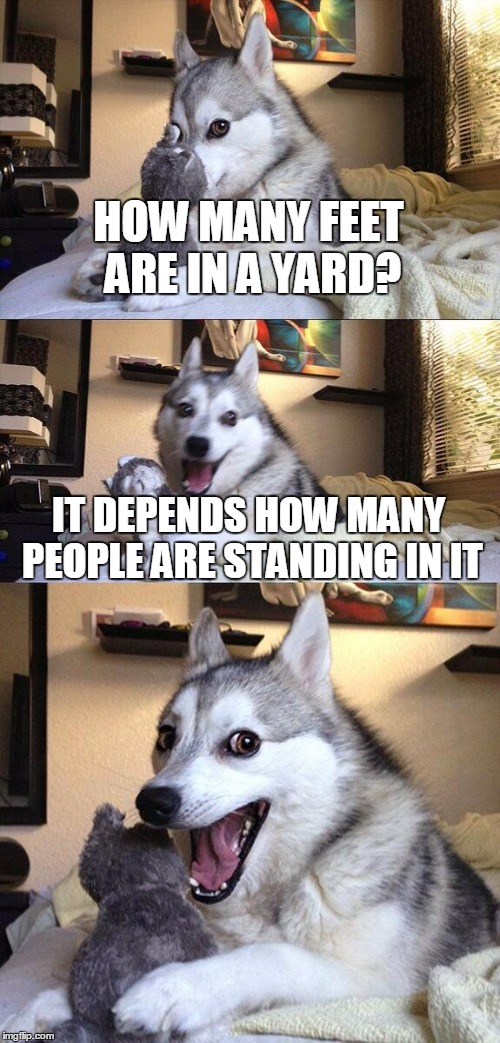 Bad Pun Dog Meme | HOW MANY FEET ARE IN A YARD? IT DEPENDS HOW MANY PEOPLE ARE STANDING IN IT | image tagged in memes,bad pun dog | made w/ Imgflip meme maker