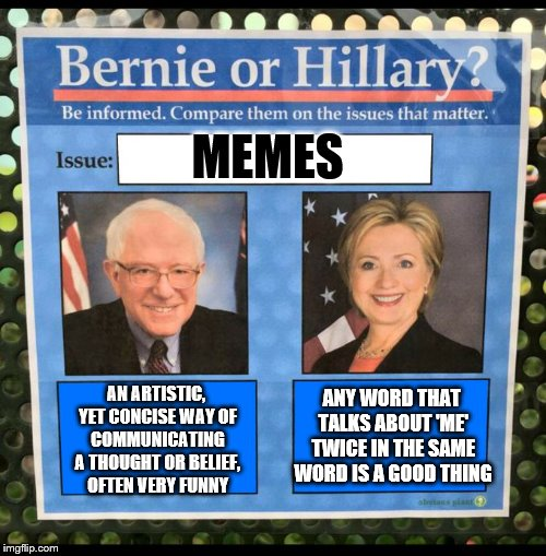Bernie or Hillary? |  MEMES; ANY WORD THAT TALKS ABOUT 'ME' TWICE IN THE SAME WORD IS A GOOD THING; AN ARTISTIC, YET CONCISE WAY OF COMMUNICATING A THOUGHT OR BELIEF, OFTEN VERY FUNNY | image tagged in bernie or hillary,memes,election 2016,hillary clinton,bernie sanders | made w/ Imgflip meme maker