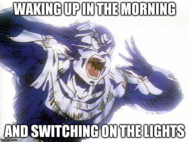 SOLAR FLARE!!! |  WAKING UP IN THE MORNING; AND SWITCHING ON THE LIGHTS | image tagged in dragon ball z,waking up,ouch,dammit | made w/ Imgflip meme maker