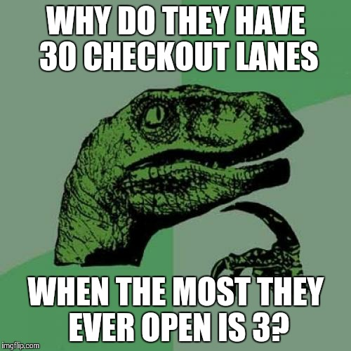 Philosoraptor Meme | WHY DO THEY HAVE 30 CHECKOUT LANES WHEN THE MOST THEY EVER OPEN IS 3? | image tagged in memes,philosoraptor | made w/ Imgflip meme maker