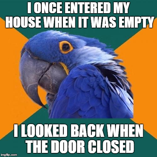 Paranoid Parrot | I ONCE ENTERED MY HOUSE WHEN IT WAS EMPTY I LOOKED BACK WHEN THE DOOR CLOSED | image tagged in memes,paranoid parrot | made w/ Imgflip meme maker