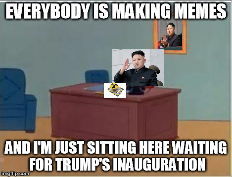 Then again, he might be waiting to feel the Bern | EVERYBODY IS MAKING MEMES AND I'M JUST SITTING HERE WAITING FOR TRUMP'S INAUGURATION | image tagged in memes,spiderman computer desk,spiderman,donald trump,election 2016,nuclear explosion | made w/ Imgflip meme maker
