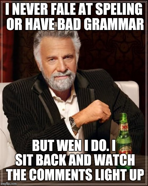The Most Interesting Man In The World Meme | I NEVER FALE AT SPELING OR HAVE BAD GRAMMAR BUT WEN I DO. I SIT BACK AND WATCH THE COMMENTS LIGHT UP | image tagged in memes,the most interesting man in the world | made w/ Imgflip meme maker