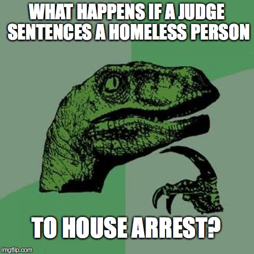 Philosoraptor Meme | WHAT HAPPENS IF A JUDGE SENTENCES A HOMELESS PERSON TO HOUSE ARREST? | image tagged in memes,philosoraptor | made w/ Imgflip meme maker