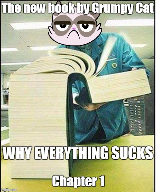 It's a book. Deal with it. | The new book by Grumpy Cat Chapter 1 WHY EVERYTHING SUCKS | image tagged in big book,memes,grumpy cat | made w/ Imgflip meme maker