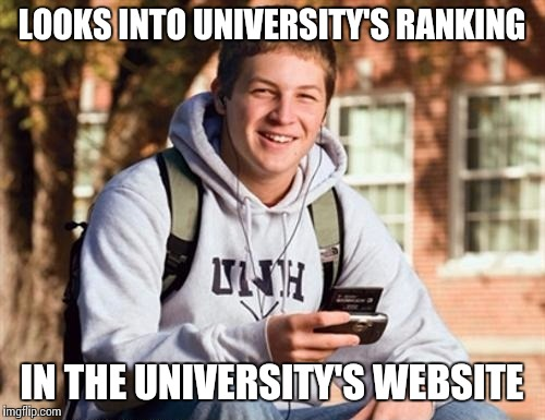 College Freshman |  LOOKS INTO UNIVERSITY'S RANKING; IN THE UNIVERSITY'S WEBSITE | image tagged in memes,college freshman | made w/ Imgflip meme maker