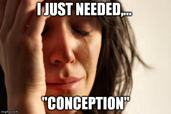 "First World Problems Meme | I JUST NEEDED,... ""CONCEPTION"" 