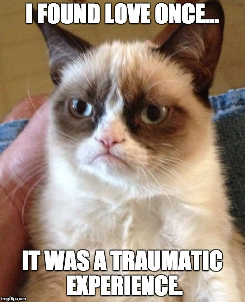 I FOUND LOVE ONCE... IT WAS A TRAUMATIC EXPERIENCE. | image tagged in memes,grumpy cat | made w/ Imgflip meme maker