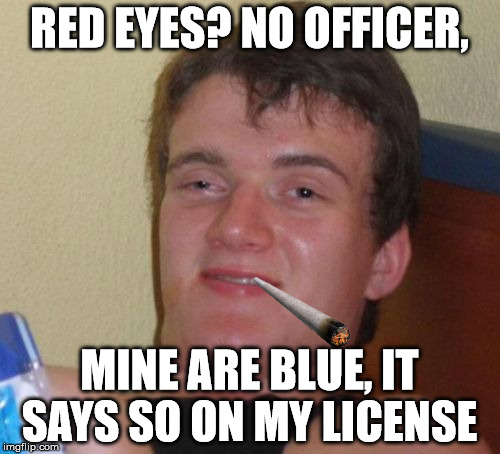 10 Guy Meme | RED EYES? NO OFFICER, MINE ARE BLUE, IT SAYS SO ON MY LICENSE | image tagged in memes,10 guy | made w/ Imgflip meme maker