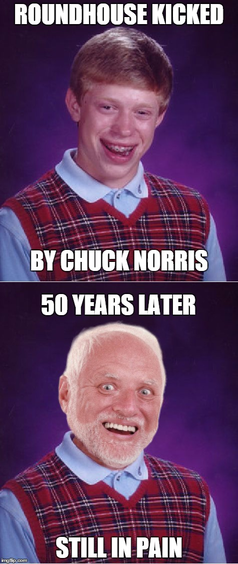 50 years of pain will do that to a persons face |  ROUNDHOUSE KICKED; BY CHUCK NORRIS; 50 YEARS LATER; STILL IN PAIN | image tagged in memes,funny,bad luck brian,bad luck harold,chuck norris | made w/ Imgflip meme maker