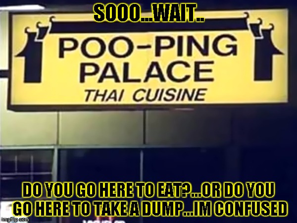 Poo-Ping Palace | SOOO...WAIT.. DO YOU GO HERE TO EAT?...OR DO YOU GO HERE TO TAKE A DUMP...IM CONFUSED | image tagged in poop palace,funny signs,funny,memes,signs/billboards,shit | made w/ Imgflip meme maker