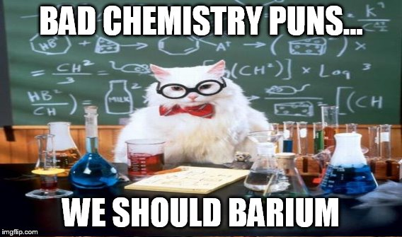 BAD CHEMISTRY PUNS... WE SHOULD BARIUM | made w/ Imgflip meme maker