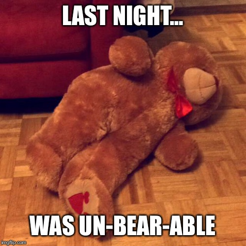 LAST NIGHT... WAS UN-BEAR-ABLE | image tagged in bear,drunk,last night | made w/ Imgflip meme maker