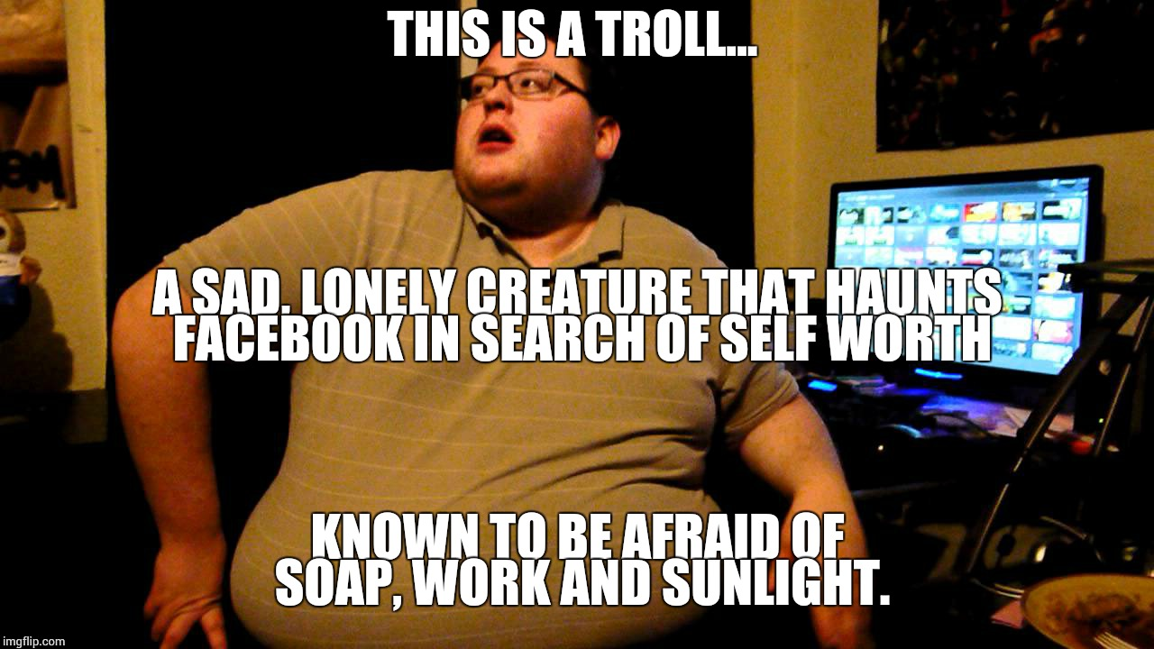 Trollbait | THIS IS A TROLL... KNOWN TO BE AFRAID OF SOAP, WORK AND SUNLIGHT. A SAD, LONELY CREATURE THAT HAUNTS FACEBOOK IN SEARCH OF SELF WORTH | image tagged in trollbait | made w/ Imgflip meme maker