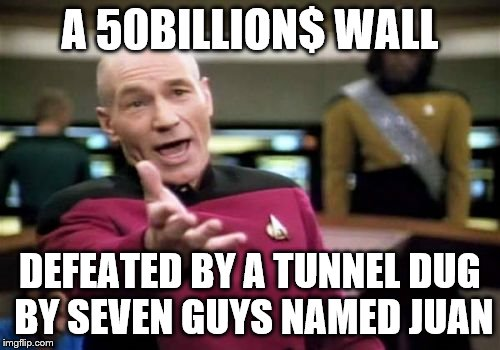 Picard Wtf Meme | A 50BILLION$ WALL DEFEATED BY A TUNNEL DUG BY SEVEN GUYS NAMED JUAN | image tagged in memes,picard wtf | made w/ Imgflip meme maker