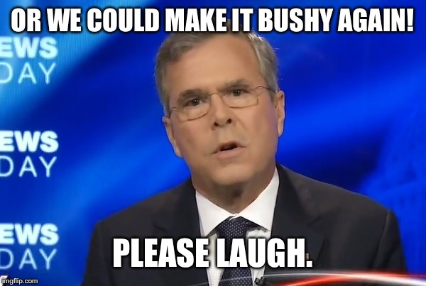 OR WE COULD MAKE IT BUSHY AGAIN! PLEASE LAUGH. | made w/ Imgflip meme maker