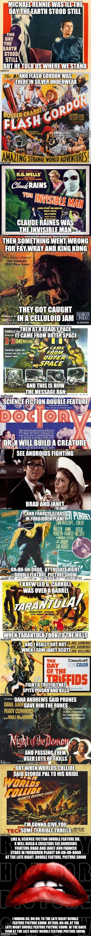Science Fiction / Double Feature Picture Show | image tagged in rocky horror,rocky horror picture show,song lyrics,lyrics,movies | made w/ Imgflip meme maker