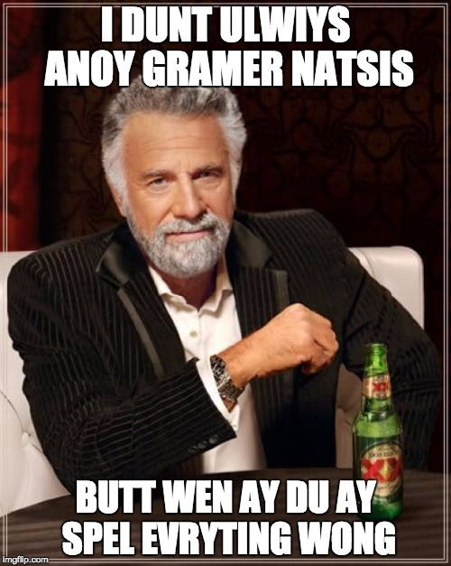 For All Those Grammar Nazis :) | I DUNT ULWIYS ANOY GRAMER NATSIS BUTT WEN AY DU AY SPEL EVRYTING WONG | image tagged in memes,the most interesting man in the world,funny,grammar nazi,lol,spelling | made w/ Imgflip meme maker