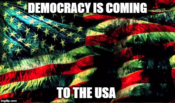 https://www.youtube.com/watch?v=lBVaqrqb3bk | DEMOCRACY IS COMING TO THE USA | image tagged in leonard cohen,democracy,occupy | made w/ Imgflip meme maker