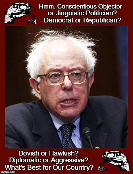 Sanders Objector | Hmm. Conscientious Objector Dovish or Hawkish? or Jingoistic Politician? Diplomatic or Aggressive? What's Best for Our Country? Democrat or  | image tagged in bernie,bernie sanders,conscientious objector,dove,hawk,2016 candidates | made w/ Imgflip meme maker