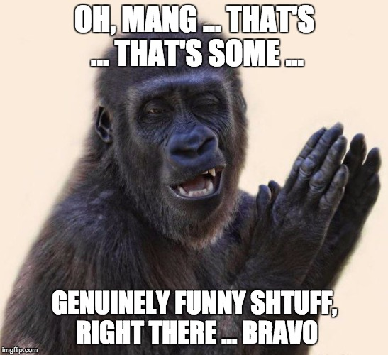 OH, MANG ... THAT'S ... THAT'S SOME ... GENUINELY FUNNY SHTUFF, RIGHT THERE ... BRAVO | made w/ Imgflip meme maker