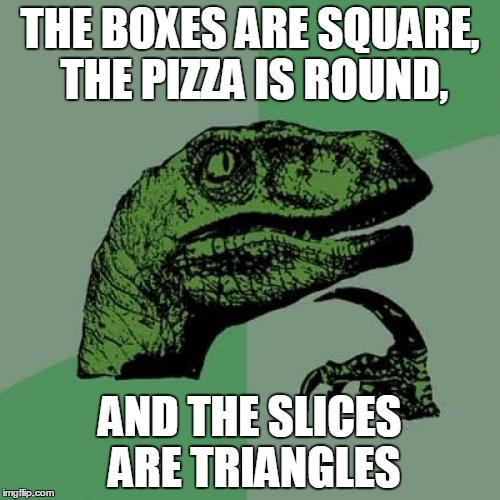 Philosoraptor Meme | THE BOXES ARE SQUARE, THE PIZZA IS ROUND, AND THE SLICES ARE TRIANGLES | image tagged in memes,philosoraptor | made w/ Imgflip meme maker
