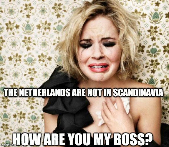 First World Problems Girl | THE NETHERLANDS ARE NOT IN SCANDINAVIA HOW ARE YOU MY BOSS? | image tagged in first world problems girl | made w/ Imgflip meme maker