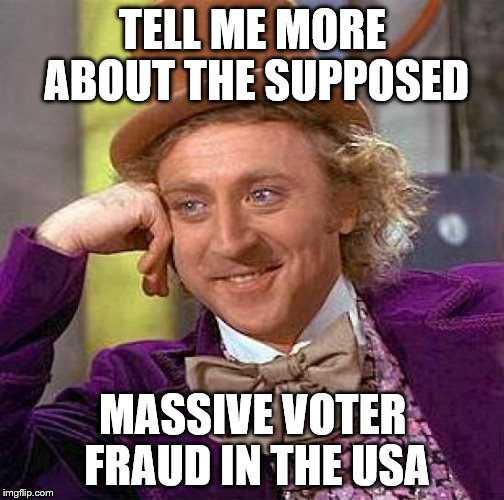 Creepy Condescending Wonka Meme | TELL ME MORE ABOUT THE SUPPOSED MASSIVE VOTER FRAUD IN THE USA | image tagged in memes,creepy condescending wonka | made w/ Imgflip meme maker