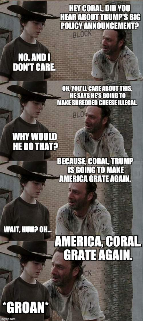 Rick and Carl Long Meme |  HEY CORAL, DID YOU HEAR ABOUT TRUMP'S BIG POLICY ANNOUNCEMENT? NO. AND I DON'T CARE. OH, YOU'LL CARE ABOUT THIS. HE SAYS HE'S GOING TO MAKE SHREDDED CHEESE ILLEGAL. WHY WOULD HE DO THAT? BECAUSE, CORAL, TRUMP IS GOING TO MAKE AMERICA GRATE AGAIN. WAIT, HUH? OH... AMERICA, CORAL. GRATE AGAIN. *GROAN* | image tagged in memes,rick and carl long | made w/ Imgflip meme maker
