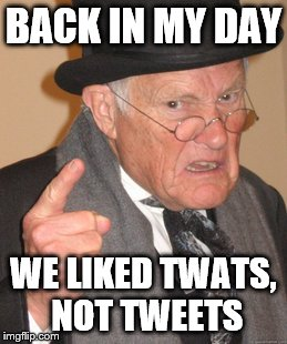 Back In My Day Meme | BACK IN MY DAY WE LIKED TWATS, NOT TWEETS | image tagged in memes,back in my day | made w/ Imgflip meme maker