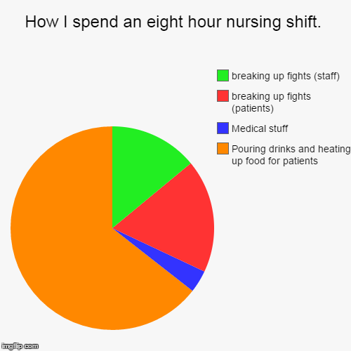 How I spend an eight hour nursing shift. | Pouring drinks and heating up food for patients, Medical stuff, breaking up fights (patients), br | image tagged in funny,pie charts | made w/ Imgflip pie chart maker