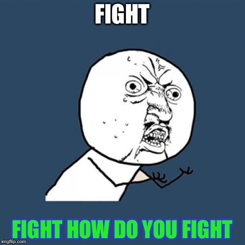 Y U No Meme | FIGHT FIGHT HOW DO YOU FIGHT | image tagged in memes,y u no | made w/ Imgflip meme maker