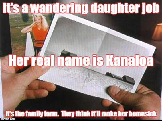 It's a wandering daughter job It's the family farm.  They think it'll make her homesick Her real name is Kanaloa | image tagged in lebowski fawn | made w/ Imgflip meme maker