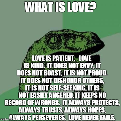 Philosoraptor Meme | WHAT IS LOVE? LOVE IS PATIENT,   LOVE IS KIND.  IT DOES NOT ENVY, IT DOES NOT BOAST, IT IS NOT PROUD. IT DOES NOT DISHONOR OTHERS, IT IS NOT | image tagged in memes,philosoraptor | made w/ Imgflip meme maker
