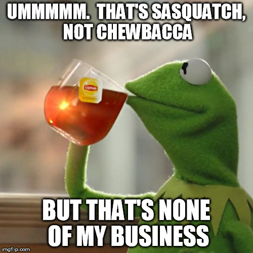 But Thats None Of My Business Meme | UMMMMM.  THAT'S SASQUATCH, NOT CHEWBACCA BUT THAT'S NONE OF MY BUSINESS | image tagged in memes,but thats none of my business,kermit the frog | made w/ Imgflip meme maker