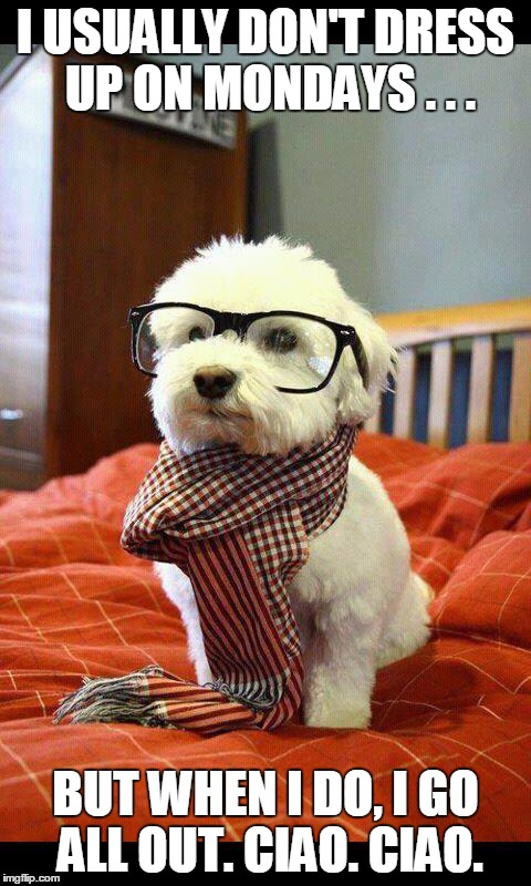 Intelligent Dog |  I USUALLY DON'T DRESS UP ON MONDAYS . . . BUT WHEN I DO, I GO ALL OUT. CIAO. CIAO. | image tagged in memes,intelligent dog | made w/ Imgflip meme maker