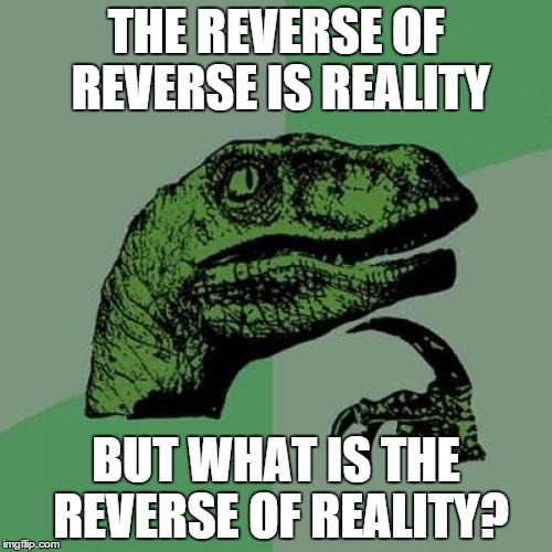 Philosoraptor | THE REVERSE OF REVERSE IS REALITY BUT WHAT IS THE REVERSE OF REALITY? | image tagged in memes,philosoraptor | made w/ Imgflip meme maker