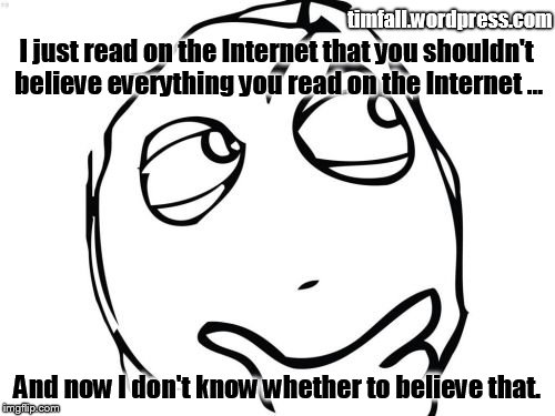 Believing the Internet | I just read on the Internet that you shouldn't believe everything you read on the Internet ... timfall.wordpress.com And now I don't know wh | image tagged in question rage face,internet,gullible | made w/ Imgflip meme maker