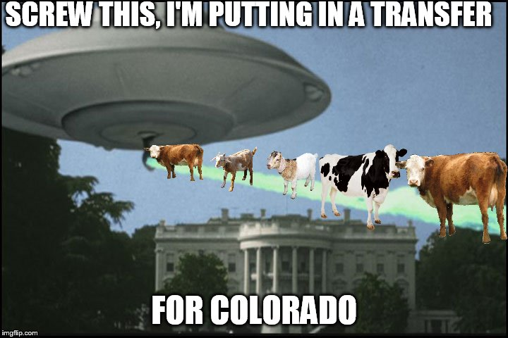 SCREW THIS, I'M PUTTING IN A TRANSFER FOR COLORADO | made w/ Imgflip meme maker