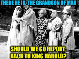 THERE HE IS, THE GRANDSON OF MAN SHOULD WE GO REPORT BACK TO KING HAROLD? | made w/ Imgflip meme maker